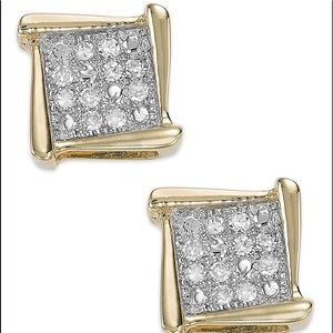 Diamond 10kt yellow gold square stud earrings